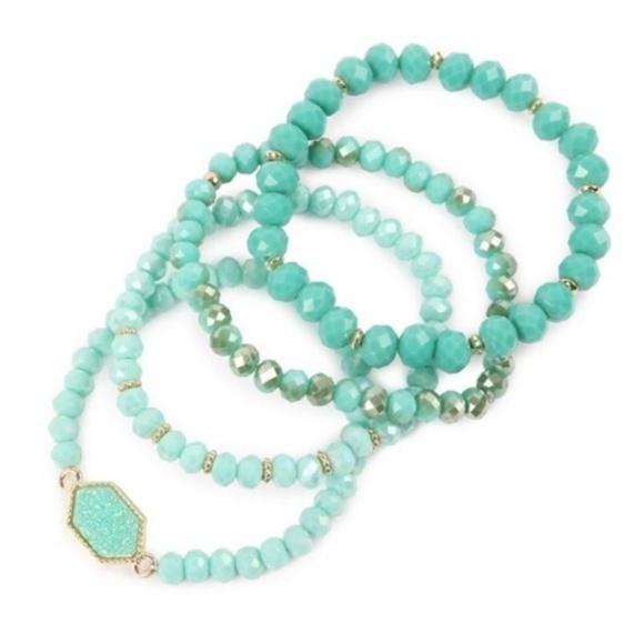 Jewelry - Druzy Stone Hexagon w/Beads Stretch Bracelet Set